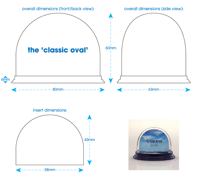 'classic oval' snowglobe technical specification