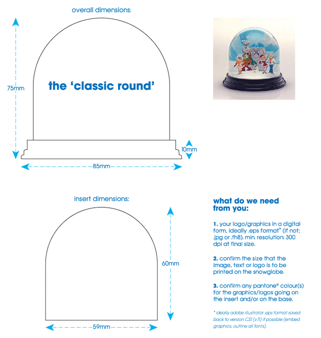 'classic round' snowglobe technical specification