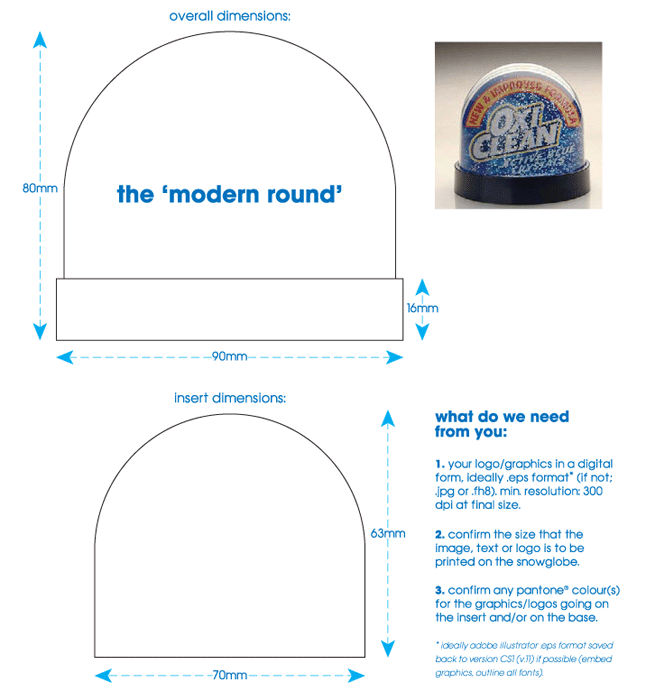 'modern round' snowglobe technical specification